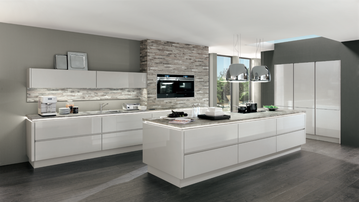 Satin Grey Handleless High Gloss - Underscores the perfect lines of the kitchen
