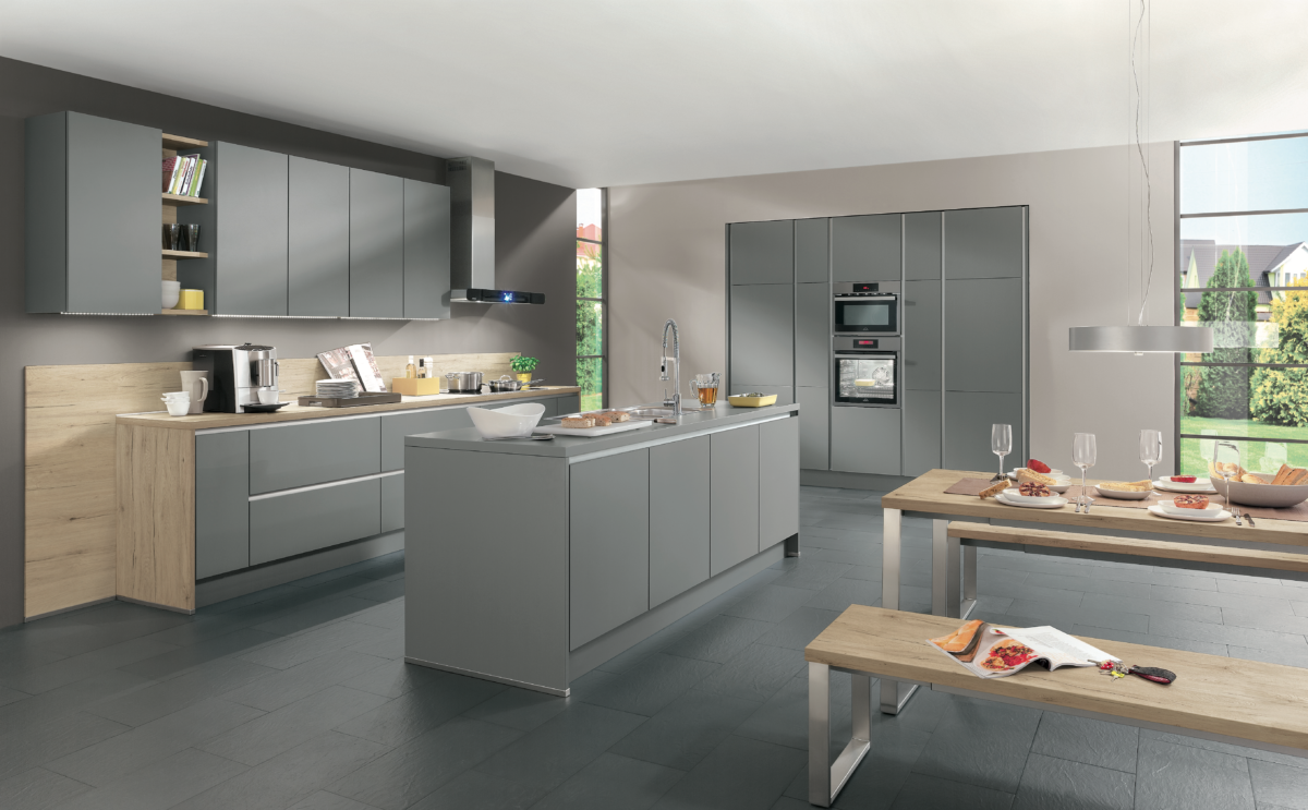 Mineral Grey Handleless - Combining colours and textures